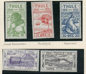 Greenland-1935-Thule-local-stamp-set-Facit-T1-5-mint