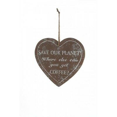 Shabby Chic Distressed Wooden SAVE OUR PLANET COFFEE Heart ...