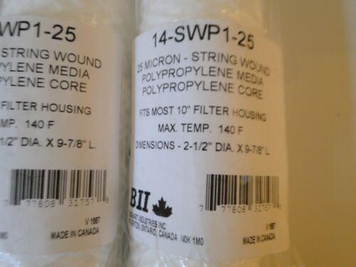 "6 BOSHART 2.5/"" x 10/""  25 MICRON STRING WOUND WATER FILTER CARTRIDGES 14-SWP1-25"