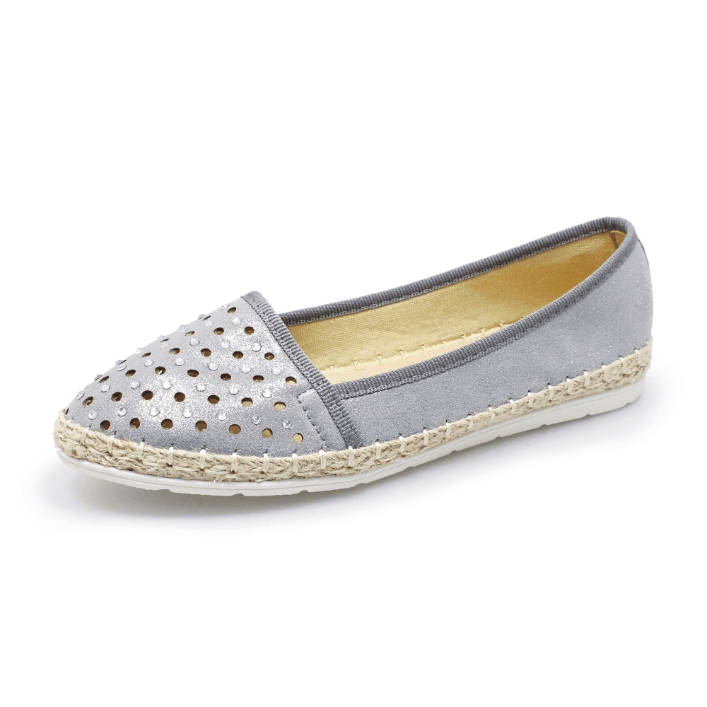 Lunar Lissy Grey Pump With Diamante Encrusted Toe