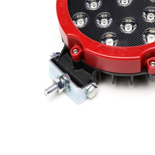 """2xRed 7/"""" 51W LED Work Light Fog Spot for Jeep ATV 4X4 Truck Backup Pods Off-Road"""