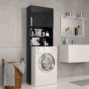 Washing-Machine-Cabinet-Cupboard-Modern-Black-Gloss-Bathroom-Unit-Laundry-Shelf
