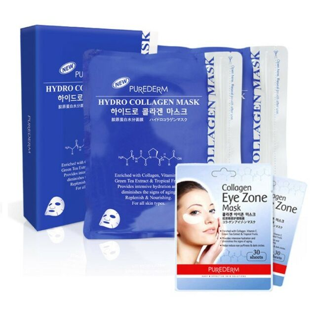 Purederm Hydro Collagen Mask 2Pack (50Sheet) + Eye Zone Mask 2Pack (60Sheet)
