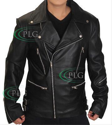 Mens Biker Leather Vintage Retro Classic Brando Slim Fit Motorcycle Jacket BNWT
