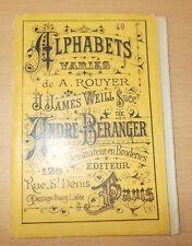 BRODERIE ABECEDAIRE ALPHABET CATALOGUE ALPHABETS VARIES DE ROUYER BERANGER N°40