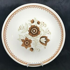 Vintage-Brown-Floral-11-1-2-Serving-Plate-Platter-Round-USA-Pottery