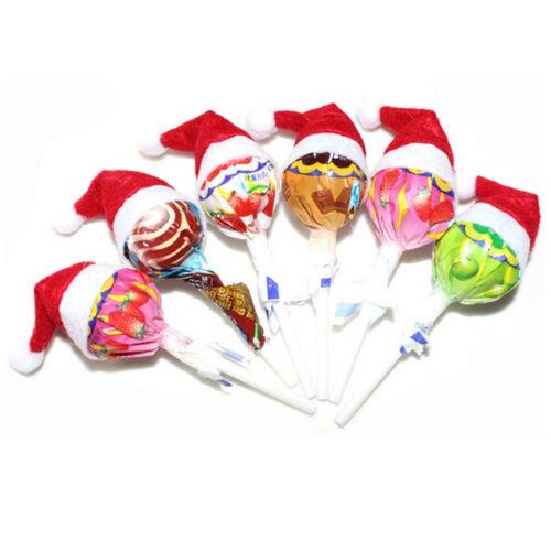 6-60 Pcs New Mini Santa Hat Lolli  Cover Wraps Tops Toppers Christmas DecorJ/&C