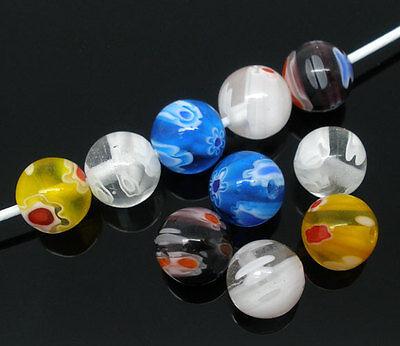 50 Mixte Bijoux Perles Lampwork Verre Rond Millefiori 8mm