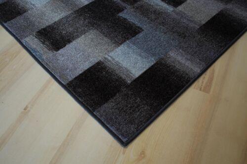 Karo Patchwork Teppich anthrazit grau Velours umkettelt 200x410 cm Teppichboden