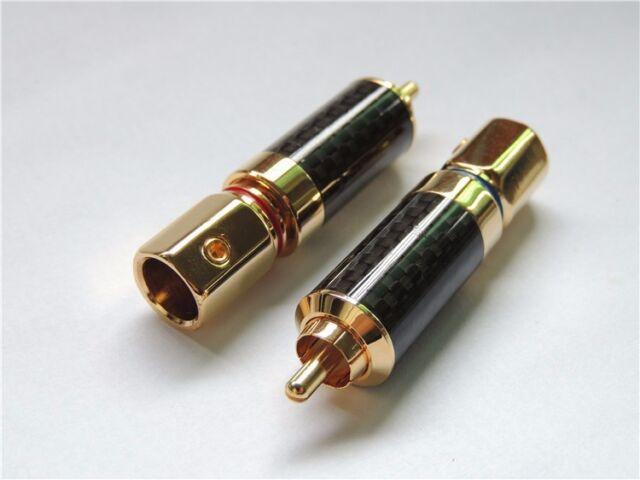 2PCS Audiophile Copper Rhodium Plated RCA Jack Plug Solder DIY