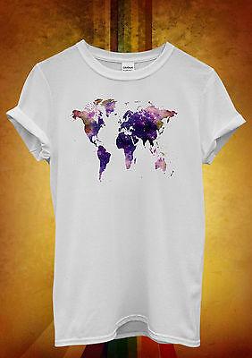 World Map Galaxy Space Cool Hipster Men Women Unisex T Shirt Tank Top Vest 863