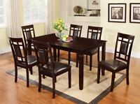 7Pc Cappuccino Finish Solid Wood Frame Dining Room Table Set, Table and 6 Chairs