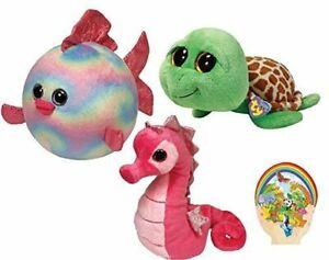 Ty Beanie Babies Pink Majestic Seahorse -Boos Green Zippy Turtle - Ballz Rainbow