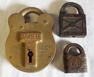 Lot-of-3-Antique-ASSORTED-BRASS-PADLOCKS-LOCKS-Yale-amp-Towne-Jas-Morgan-Jared