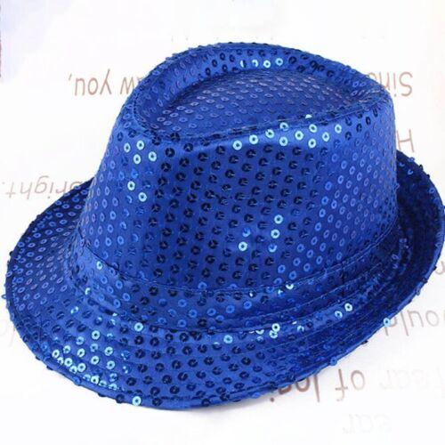 Unisex Sequin Trilby Cap Gangster Party Fancy Costume Dance Hat Men Women Affabl