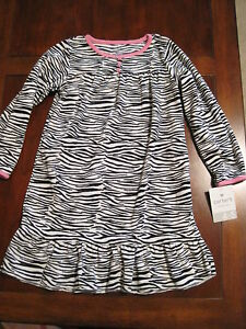 Carters Girls Size 4//5 Fleece Zebra Print Nightgown