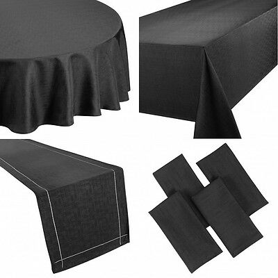NEW PLAIN LINEN LOOK TABLECLOTHS NAPKINS RUNNERS PLACEMATS - 6 COLOURS