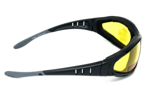 pouch /& postage New Antifog Yellow tinted motorcycle glasses//padded sunglasses
