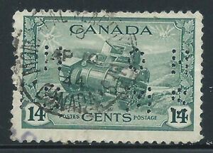 Canada #O259(2) PERFIN 1942 14 ct RAM TANK OFFICIAL OHMS MONTREAL QUEBEC