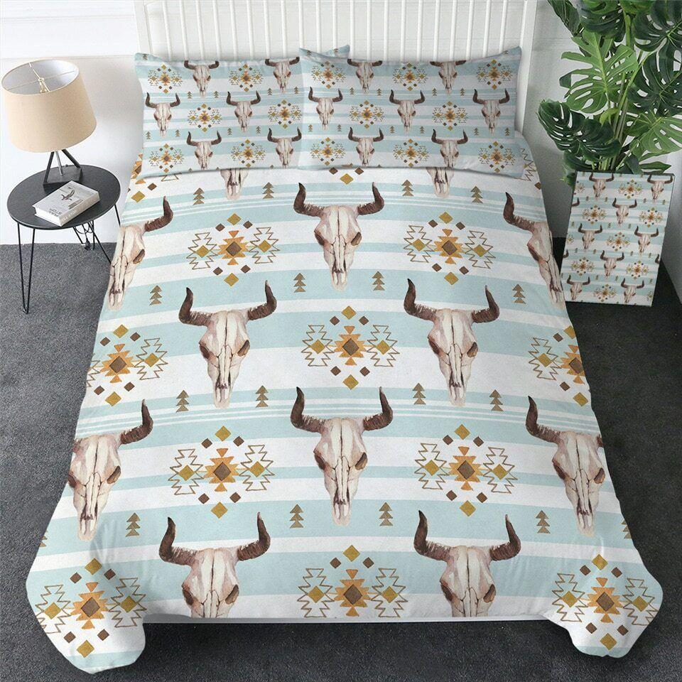 Aztec Stripe Head Skull Stripe Double Single Quilt Duvet Pillow Cover Bed Set