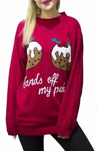Women/'s HANDS OFF MY PUDDING Retro Knitted Christmas XMAS Tunic Jumper Dress Top