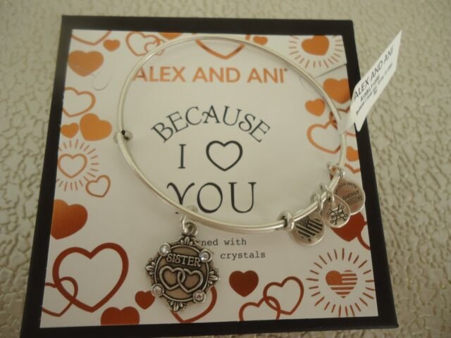 Alex And Ani Because I Love You Sister Iii Russian Silver Bangle W Tag Card