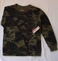 Boys Long Sleeve Shirt Large 12 - 14 Top Green Camouflage Pocket Hunting