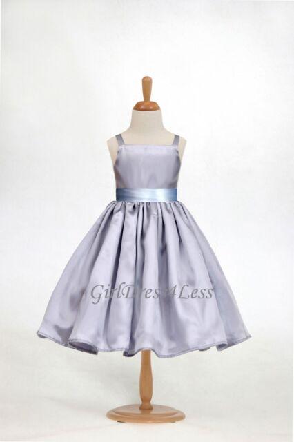 WHITE//NAVY BLUE WEDDING SPAGHETTI STRAPS FLOWER GIRL DRESS 18M 2 3//4 5//6 8 10 12