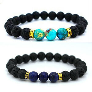 Black-Vintage-Fashion-Men-Women-Bead-LAVA-Rock-Stone-Blue-Beads-Bangle-Bracelet