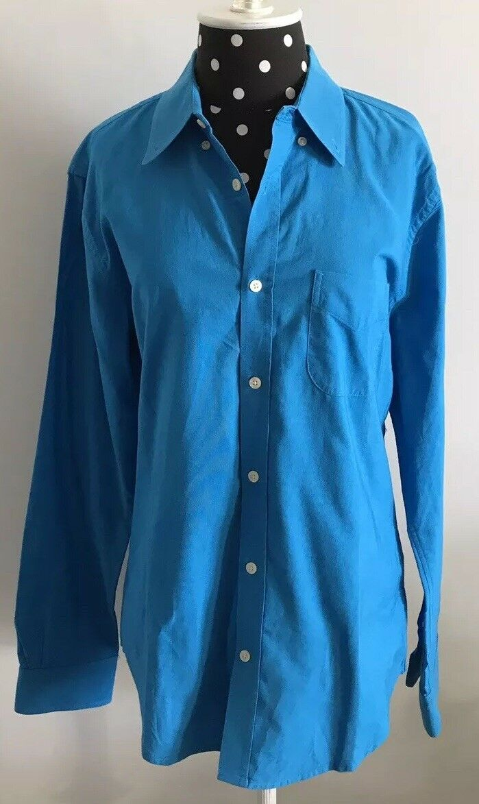 Vince Button Down Shirt Aqua bluee Long Sleeve Cotton Size M 1000