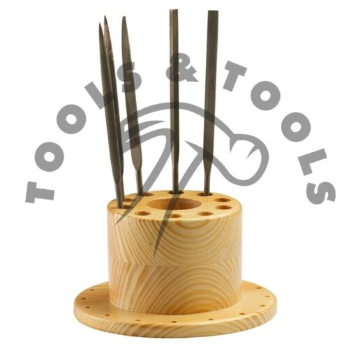 27 Holes Wooden Bur Files Saw Blades Tweezers Organizer Bench Top Hard Wood Tool