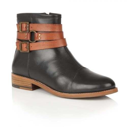 et pour brun cuir dames plat Chelsea noir Ravel cuir Bottes à brun talon noir en qBa78Aw