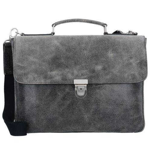 grau Leonhard Heyden Boston Aktentasche Business Leder 39 cm Laptopfach