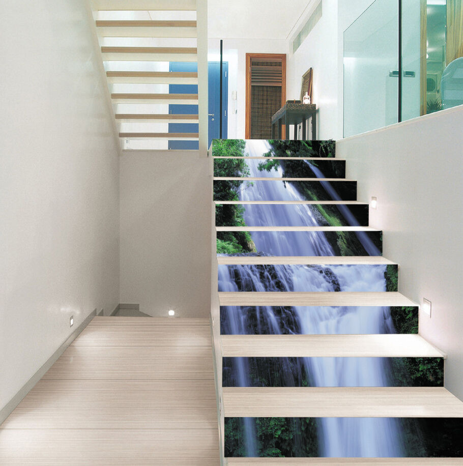 3D waterfall stairs Clear Risers Decoration Photo Mural Vinyl Decal Wallpaper CA