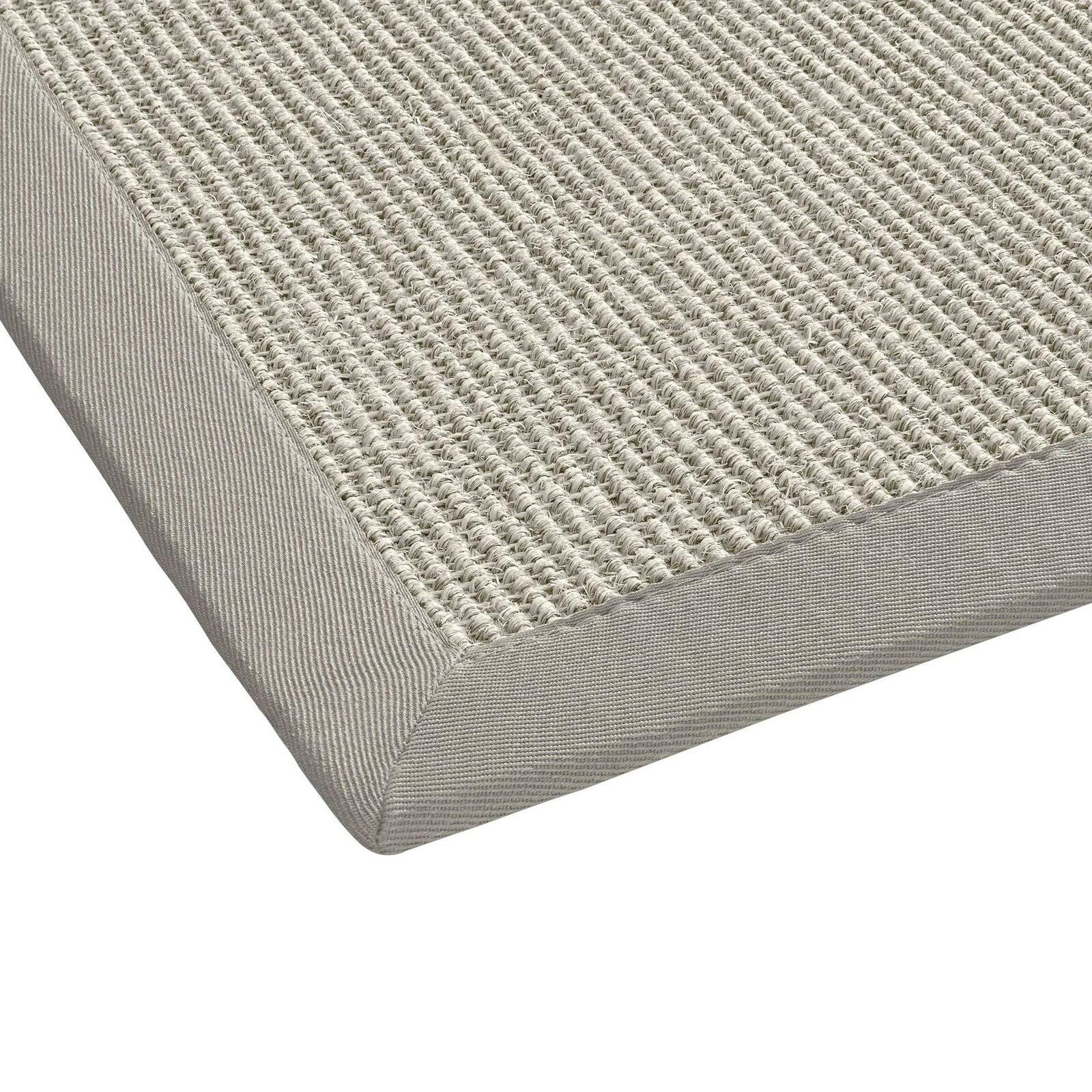 Sisal-Teppich Flachgewebe  hochwertig genähte Bordüre  9 Gr.  grau Weißs natur