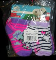 snoopy The Peanuts Movie Girl's 6 Prs. Crew Socks Size 2t-4t