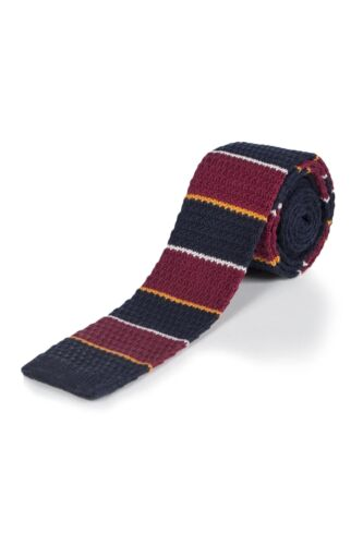 Coral Snake Moustard Striped Cotton Knitted Tie