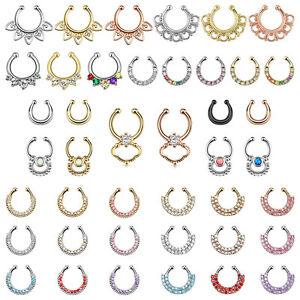 Piercing-de-Nariz-Septum-Fake-Ring-Clip-en-Colgante-Pendiente-Multi-Cristal