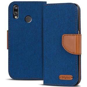 Handy-Tasche-Huawei-P20-Lite-Book-Case-Huelle-Klapphuelle-Flip-Cover-Blau