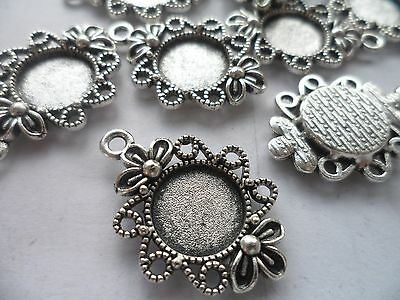 10 x 12mm Antique Silver Pendant/Earring settings,bases,Bezels crafting hobby