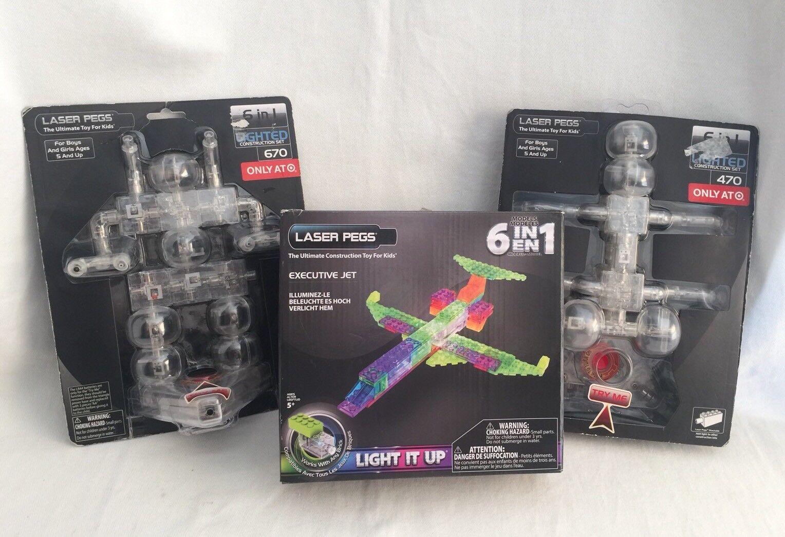 3 Laser Pegs Sets Robot - Executive Jet - Bug