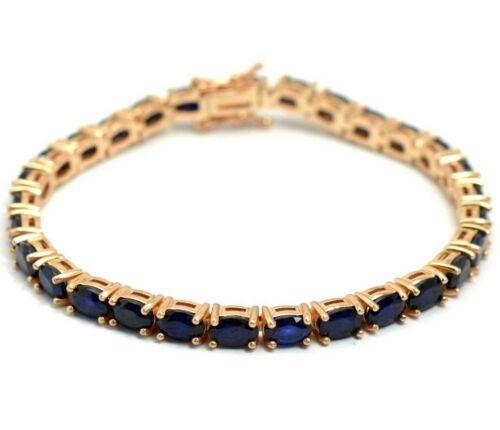 Natural Blue Sapphire Gemstone 14k plaqué or rose argent 925 Tennis Bracelet