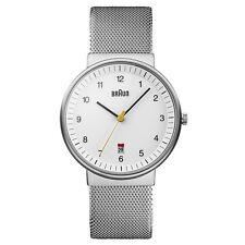 NEW RRP £120 Braun BN0032WHSLMHG Mens Silver White Watch