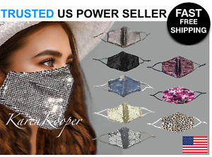 Fashion Face Mask Sequin Glitter Bling Cover Nose Mouth Washable Reusable USA