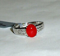 Ethiopian Cherry Fire Opal Oval & White Topaz Ring, Silver, Size 8, 1.33(TCW)