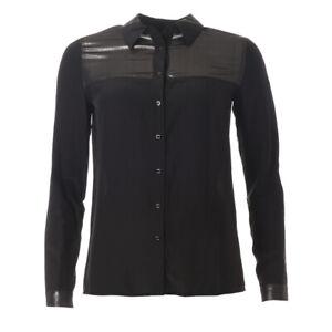 ARMANI-JEANS-Blouse-Black-Long-Sleeved-Sheer-Panel-RRP-165-BG