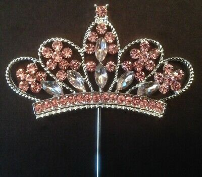 Pleasing Girls Big Pink Princess Tiara Crown Birthday Cake Topper Funny Birthday Cards Online Elaedamsfinfo