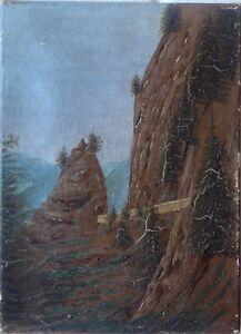 PASS-IN-DEN-ALPEN-OLGEMALDE-ROMANTIKER-UM-1880-NORDITALIEN-STRASSE-ALPEN-ANTIK