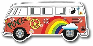 hippie bus vw volkswagen bus decal bumper sticker v2 hippie beetle bug peace ebay. Black Bedroom Furniture Sets. Home Design Ideas