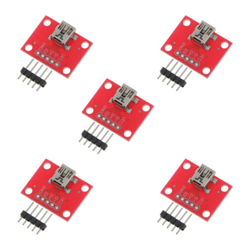Pack of 5 Mini USB Breakout Board Power Charging Converter Module